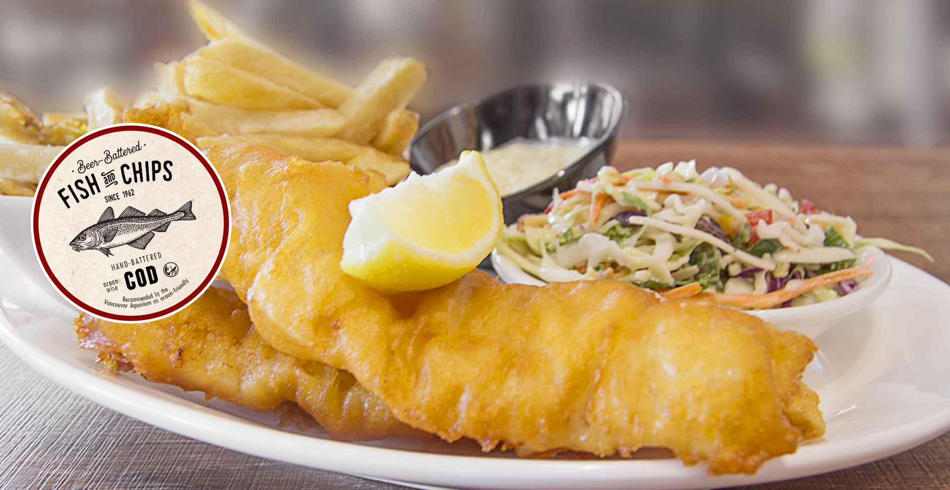 Hand-and-beer battered Ocean Wise cod fillets paired with fresh cut Kennebec fries. All made