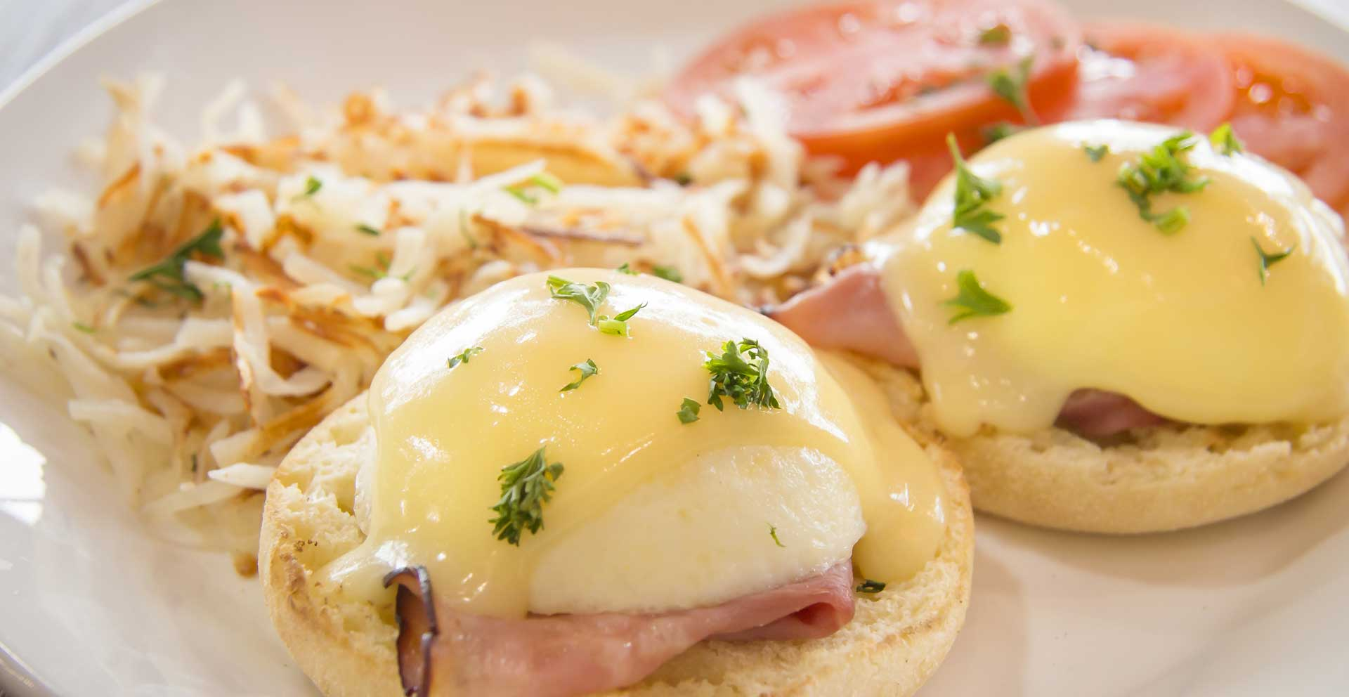 All of our delicious Bennies are served with breakfast meats raised without any antibiotics or added hormones.