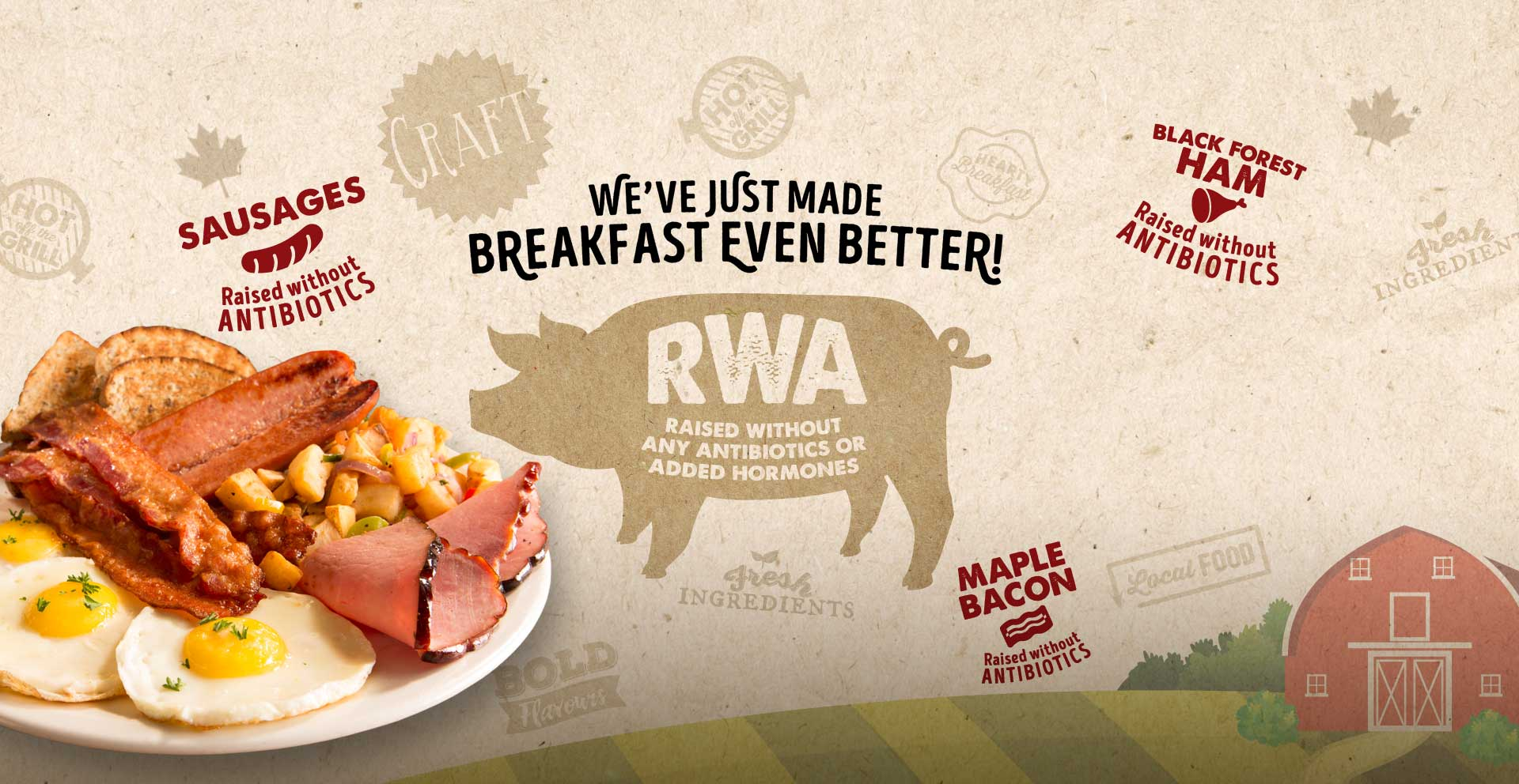 Ricky's is the first family restaurant chain in Canada to commit to breakfast meats raised without any antibiotics or added hormones, ever!