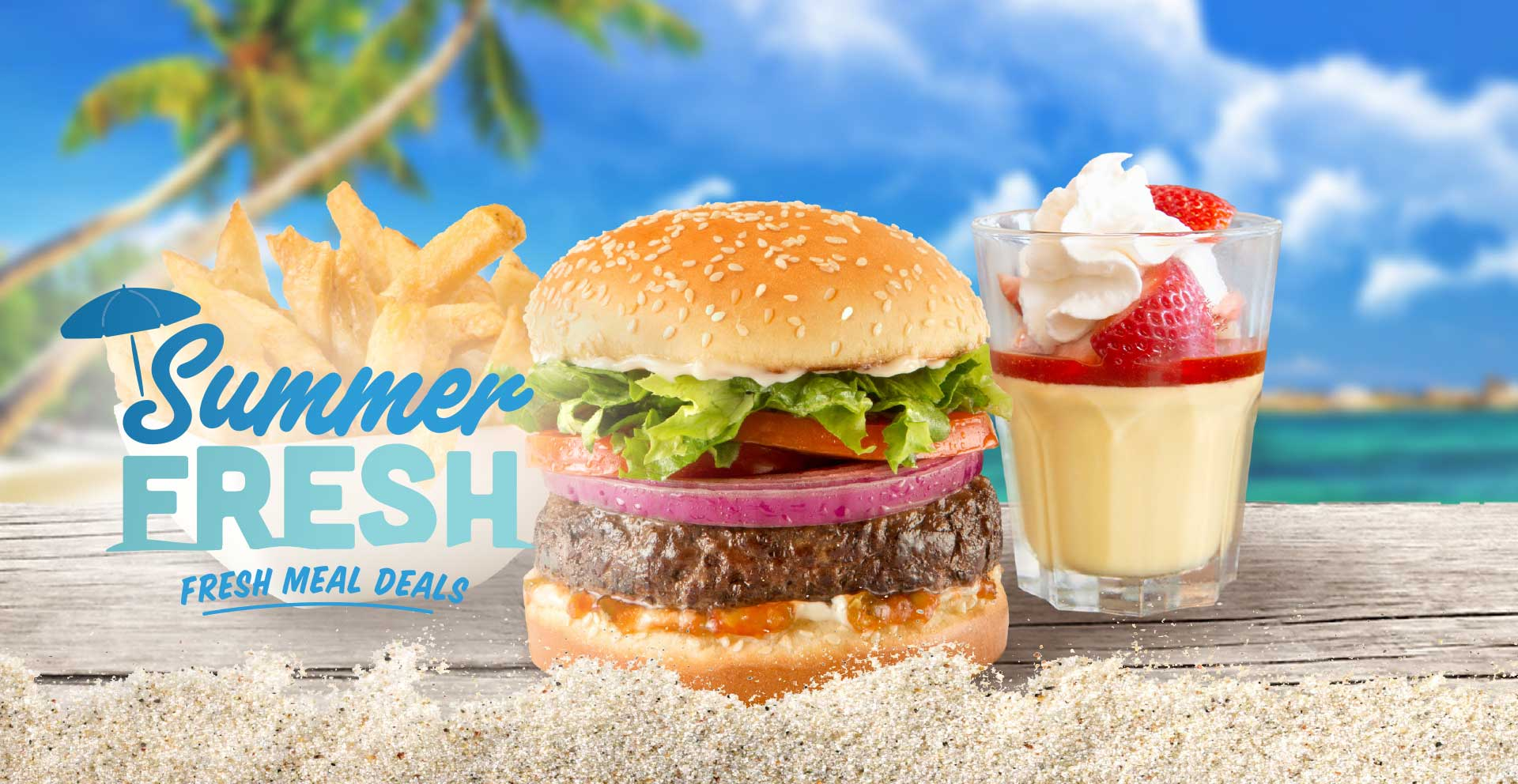 Choose from a Deluxe Burger to hand-battered Chicken Tenders to beer-battered Fish & Chips. All with fresh-cut fries and fresh berry creamsicle parfait. See participating locations for menu and pricing.