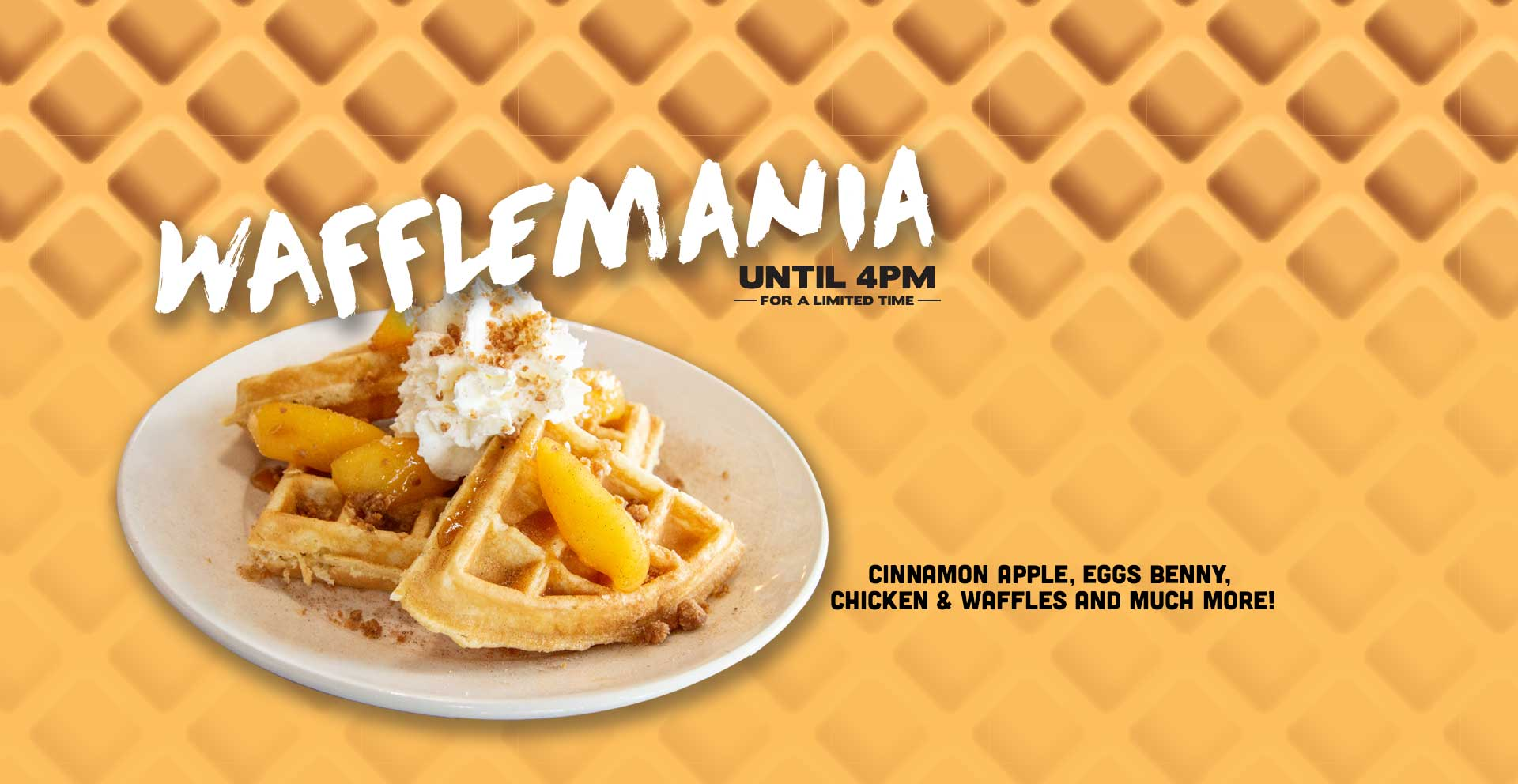 $1.00 from every Wafflemania menu item sold is donated to Breakfast Club of Canada. For a limited time at participating locations.