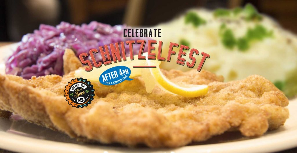 Traditional wiener, hunter or neptune schnitzel, with Bavarian style red cabbage and garlic mashed potatoes. For a limited time at participating locations.