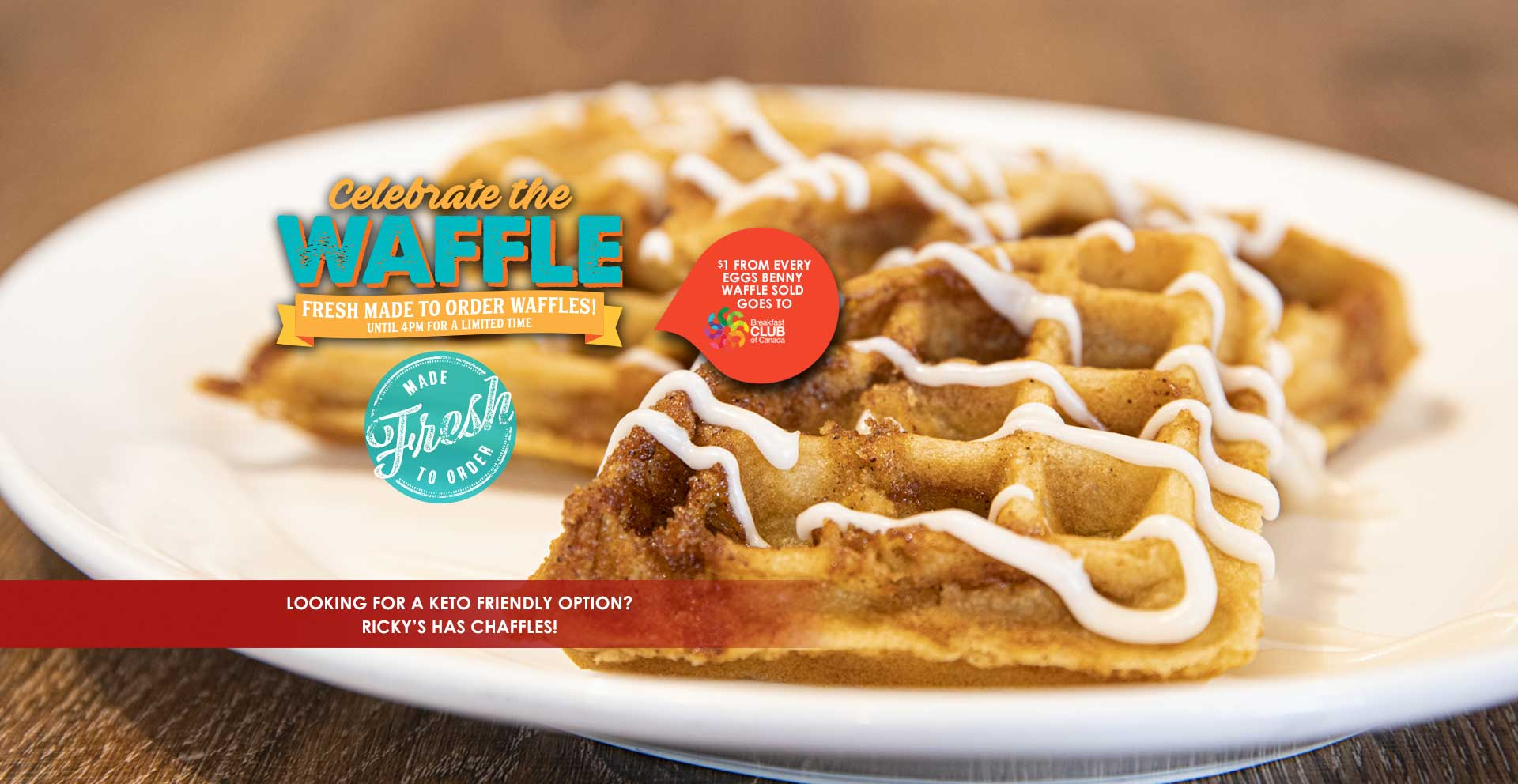 Indulge in the classic goodness of a fresh, made to order Waffle! Choose from sweet like our Cinnamon Bun Waffles to savoury like our Spicy Eggs Benny Waffle. We've got the Waffle for you! But hurry – for a limited time until 4pm.